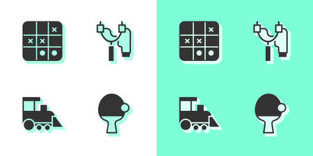Set Racket and ball, Tic tac toe game, Toy train and Slingshot icon. Vector