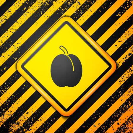 Black Plum fruit icon isolated on yellow background. Warning sign. Vector