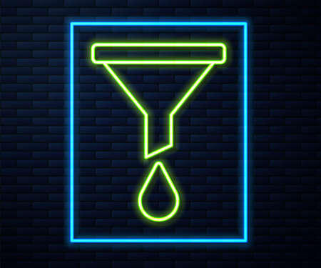 Glowing neon line Funnel or filter icon isolated on brick wall background. Vector