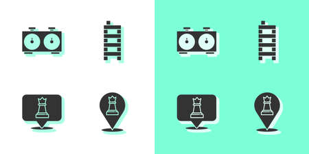 Set Chess, Time chess clock, and Mahjong pieces icon. Vector