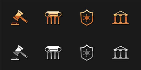 Set Judge gavel, Law pillar, Police badge and Courthouse building icon. Vector
