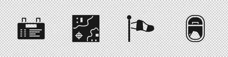Set Airport board, World travel map, Cone meteorology windsock and Airplane window icon. Vector