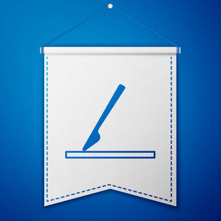 Blue Medical surgery scalpel tool icon isolated on blue background. Medical instrument. White pennant template. Vector