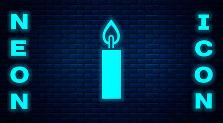 Glowing neon Burning candle icon isolated on brick wall background. Cylindrical candle stick with burning flame. Vector Vektorgrafik