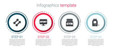 Set Dumbbell, Location gym, Sports nutrition. Business infographic template. Vector Vector Illustratie