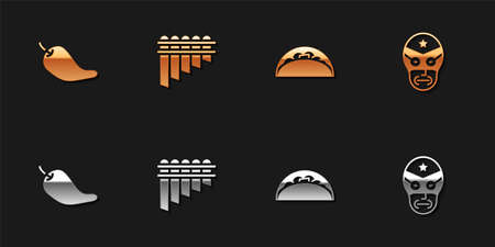 Set Hot chili pepper pod, Pan flute, Taco with tortilla and Mexican wrestler icon. Vector