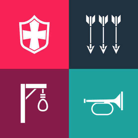 Set pop art Trumpet, Gallows, Crossed arrows and Shield icon. Vector