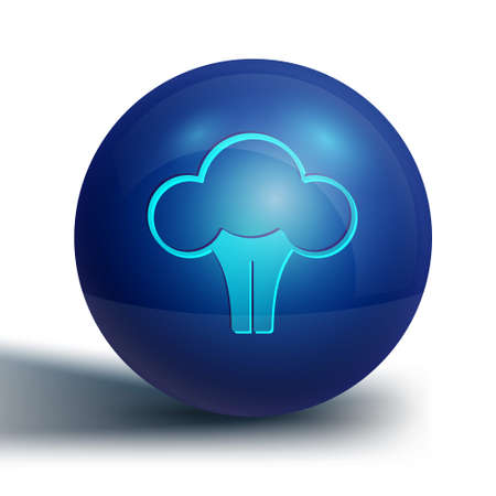 Blue Broccoli icon isolated on white background. Blue circle button. Vector