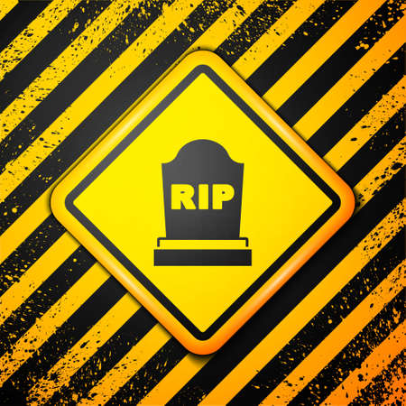 Black Tombstone with RIP written on it icon isolated on yellow background. Grave icon. Warning sign. Vector