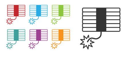 Black Firework icon isolated on white background. Concept of fun party. Explosive pyrotechnic symbol. Set icons colorful. Vector Vektoros illusztráció