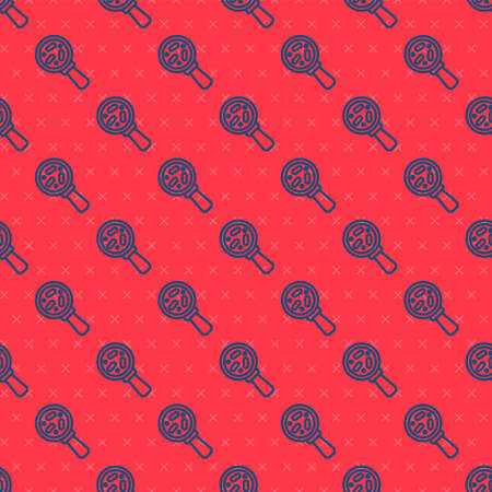 Blue line Microorganisms under magnifier icon isolated seamless pattern on red background. Bacteria and germs, cell cancer, microbe, virus, fungi. Vector