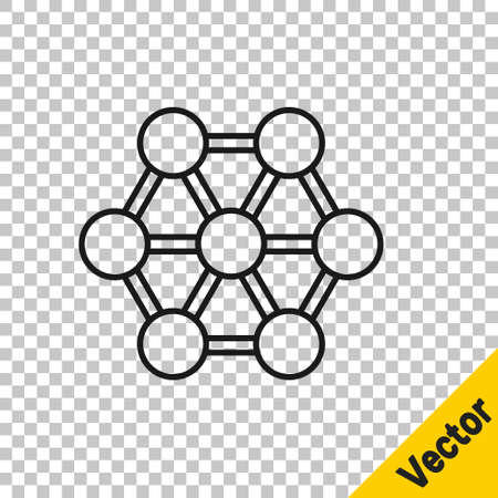 Black line Molecule icon isolated on transparent background. Structure of molecules in chemistry, science teachers innovative educational poster. Vector 向量圖像