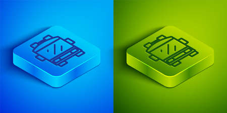 Isometric line Fire truck icon isolated on blue and green background. Fire engine. Firefighters emergency vehicle. Square button. Vector