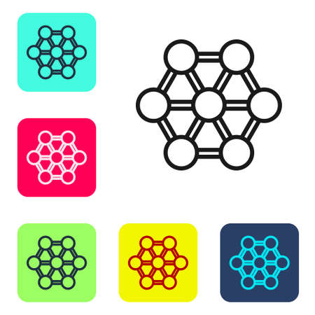Black line Molecule icon isolated on white background. Structure of molecules in chemistry, science teachers innovative educational poster. Set icons in color square buttons. Vector