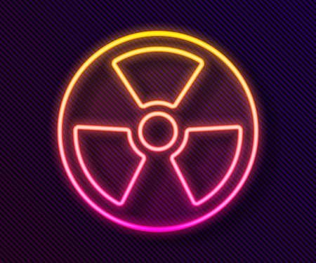 Glowing neon line Radioactive icon isolated on black background. Radioactive toxic symbol. Radiation Hazard sign. Vector 向量圖像