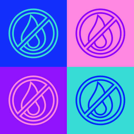 Pop art line No fire icon isolated on color background. Fire prohibition and forbidden. Vector