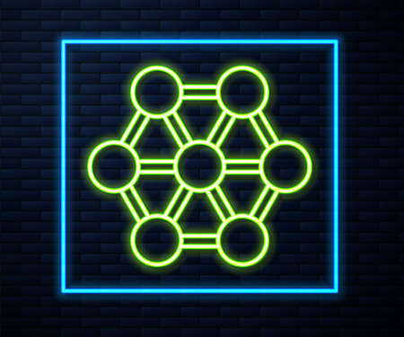 Glowing neon line Molecule icon isolated on brick wall background. Structure of molecules in chemistry, science teachers innovative educational poster. Vector