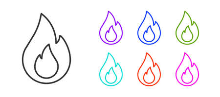 Black line Fire flame icon isolated on white background. Set icons colorful. Vector
