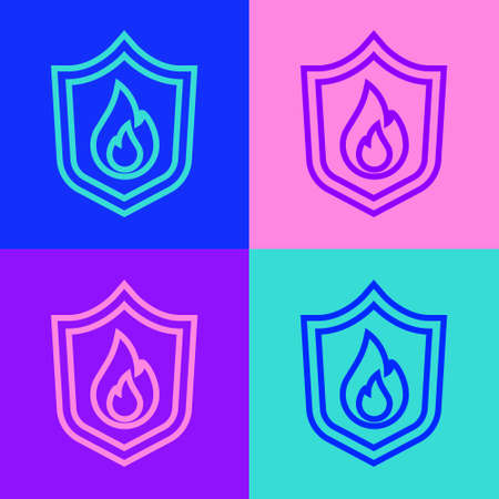 Pop art line Fire protection shield icon isolated on color background. Insurance concept. Security, safety, protection, protect concept. Vector