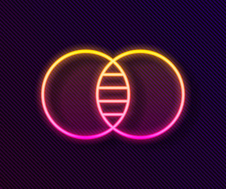 Glowing neon line Mathematics sets A and B icon isolated on black background. Symmetric difference. Vector Ilustração Vetorial