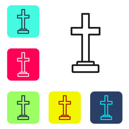 Black line Grave with cross icon isolated on white background. Set icons in color square buttons. Vector