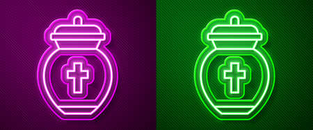 Glowing neon line Funeral urn icon isolated on purple and green background. Cremation and burial containers, columbarium vases, jars and pots with ashes. Vector