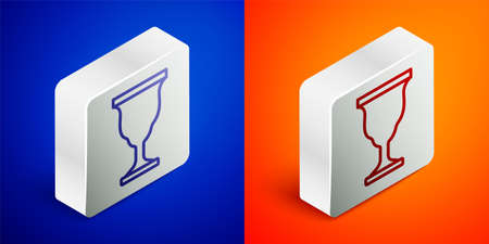 Isometric line Christian chalice icon isolated on blue and orange background. Christianity icon. Happy Easter. Silver square button. Vector