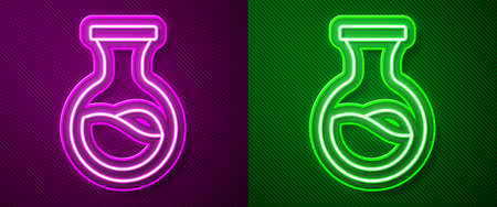Glowing neon line Test tube and flask chemical laboratory test icon isolated on purple and green background. Laboratory glassware sign. Vector
