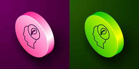 Isometric line Human head with leaf inside icon isolated on purple and green background. Circle button. Vector