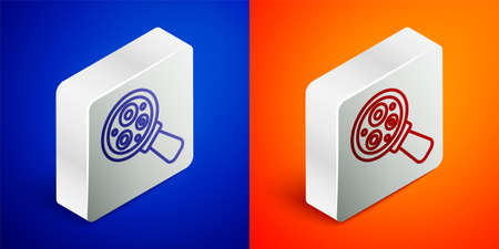 Isometric line Microorganisms under magnifier icon isolated on blue and orange background. Bacteria and germs, cell cancer, microbe, virus, fungi. Silver square button. Vector