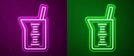 Glowing neon line Laboratory glassware or beaker icon isolated on purple and green background. Vector 向量圖像