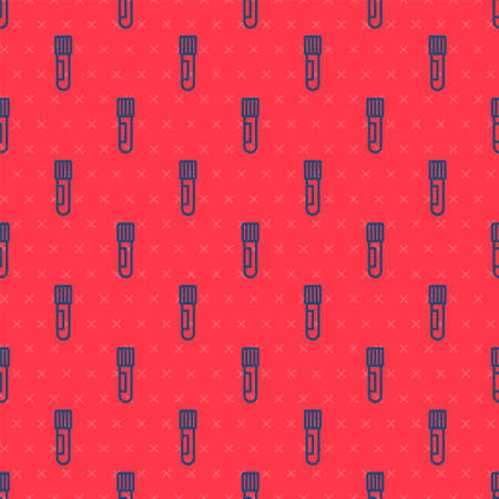 Blue line Test tube and flask chemical laboratory test icon isolated seamless pattern on red background. Laboratory glassware sign. Vector