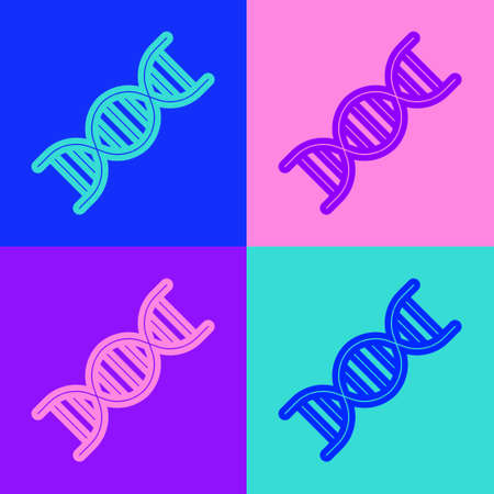 Pop art line DNA symbol icon isolated on color background. Vector