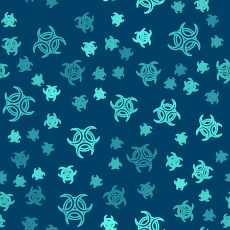Green line Biohazard symbol icon isolated seamless pattern on blue background. Vector 向量圖像