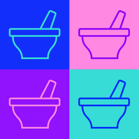 Pop art line Mortar and pestle icon isolated on color background. Vector 向量圖像