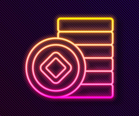 Glowing neon line Chinese Yuan currency symbol icon isolated on black background. Coin money. Banking currency sign. Cash symbol. Vector 向量圖像