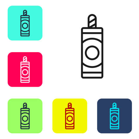Black line Firework icon isolated on white background. Concept of fun party. Explosive pyrotechnic symbol. Set icons in color square buttons. Vector