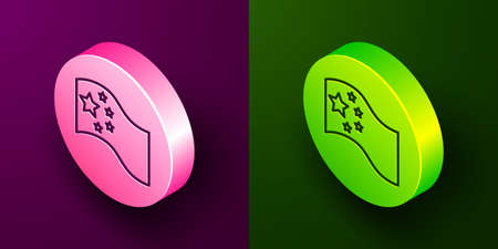 Isometric line China flag icon isolated on purple and green background. Circle button. Vector