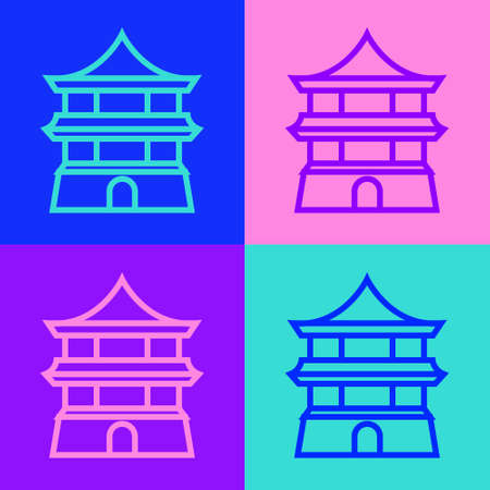Pop art line Traditional chinese house icon isolated on color background. Vector