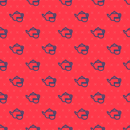 Blue line Traditional Chinese tea ceremony icon isolated seamless pattern on red background. Teapot with cup. Vector