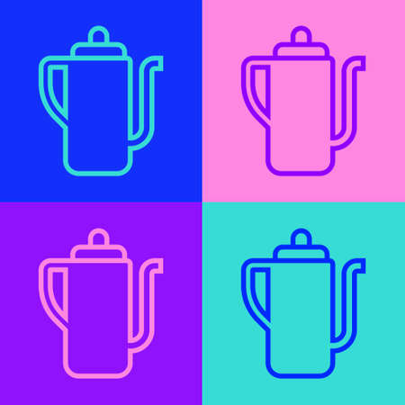 Pop art line Traditional Chinese tea ceremony icon isolated on color background. Teapot with cup. Vector 向量圖像