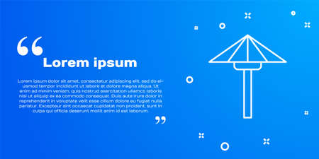 White line Traditional Japanese umbrella from the sun icon isolated on blue background. Vector 向量圖像