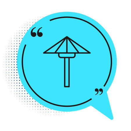 Black line Traditional Japanese umbrella from the sun icon isolated on white background. Blue speech bubble symbol. Vector 向量圖像