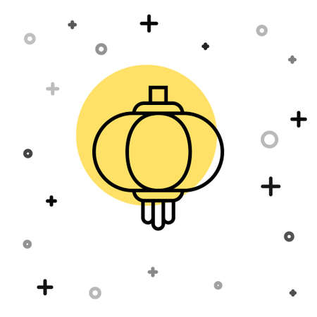 Black line Chinese paper lantern icon isolated on white background. Random dynamic shapes. Vector