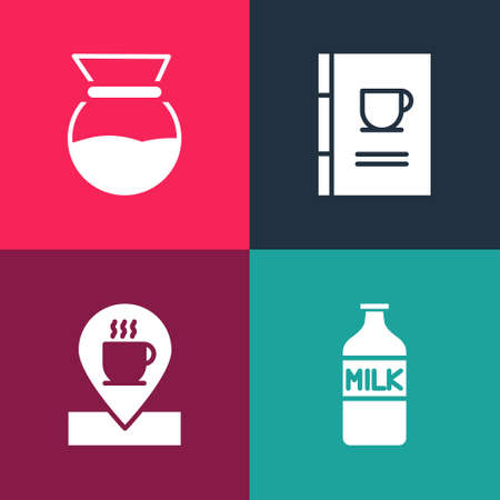 Set pop art Bottle with milk, Location coffee cup, Coffee book and Pour over maker icon. Vector 向量圖像