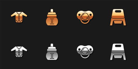 Set Baby clothes, bottle, dummy pacifier and potty icon. Vector Vettoriali
