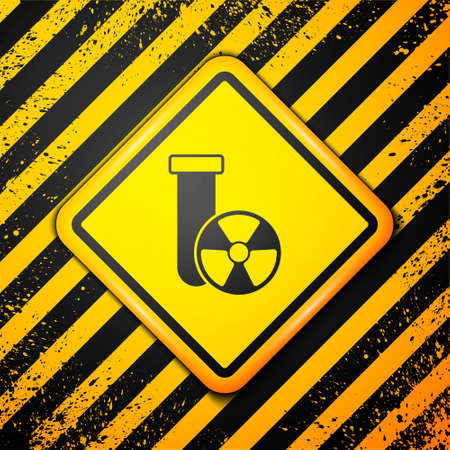 Black Laboratory chemical beaker with toxic liquid icon isolated on yellow background. Biohazard symbol. Dangerous symbol with radiation icon. Warning sign. Vector Vettoriali