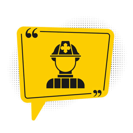 Black Firefighter icon isolated on white background. Yellow speech bubble symbol. Vector