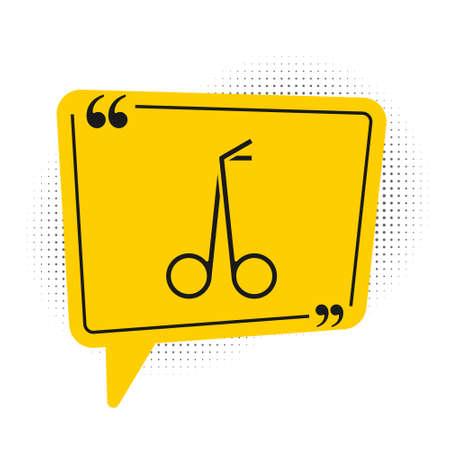 Black Medical scissors icon isolated on white background. Yellow speech bubble symbol. Vector Vektoros illusztráció