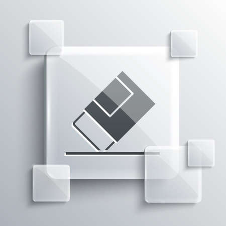 Grey Eraser or rubber icon isolated on grey background. Square glass panels. Vector